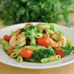 Grilled Lemon Shrimp with Penne and Cashew Parsley Pesto