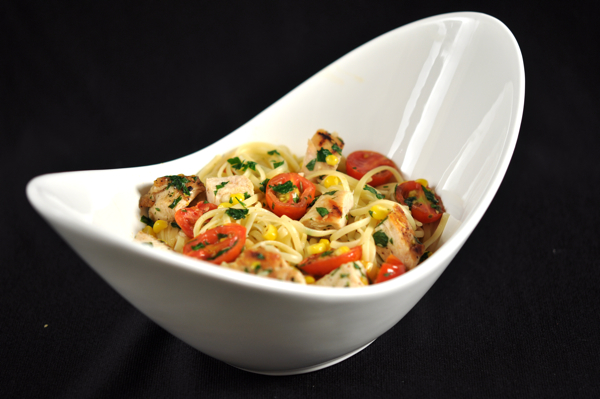 Linguine with Chicken Corn and Tomatoes