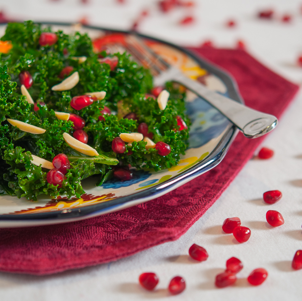 Kale Salad with Pomegranate and Almonds