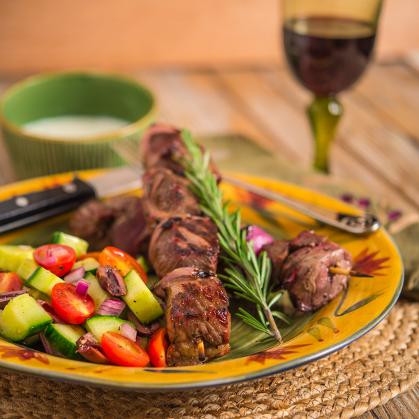 Lamb Kabob with Tzatziki Sauce