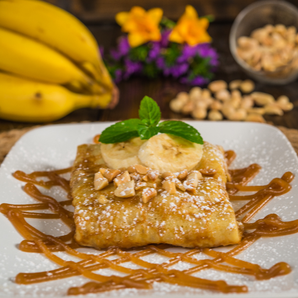 Caramalized Banana Crepes with Peanut Butter Sauce