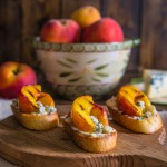 Peach and Gongonzola Crostini