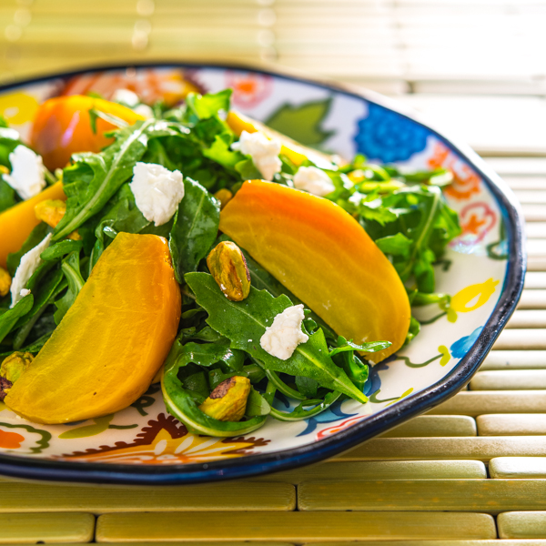 Golden Beet Salad with Pistachios and Goat Cheese