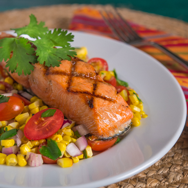 Grilled Salmon with Cilantro Corn Salad