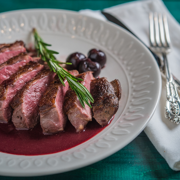 Pan Seared Duck Breast with Cherry Port Reduction
