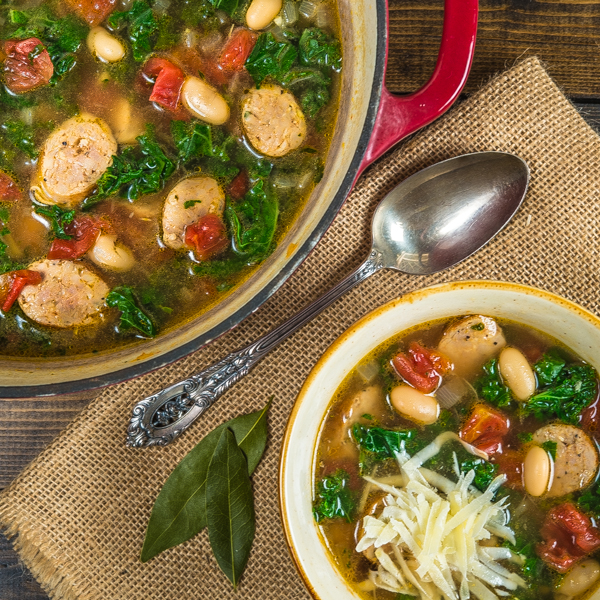 Chicken Sausage White Bean and Kale Soup