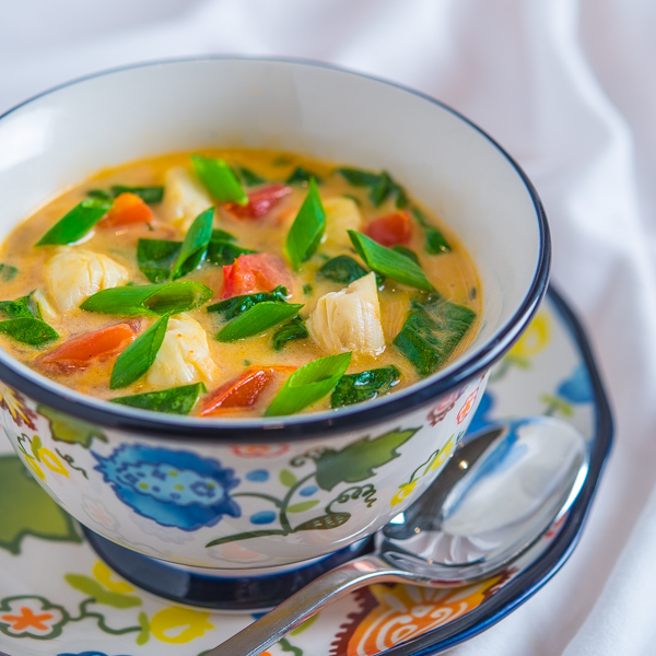 Crab Spinach and Coconut Soup
