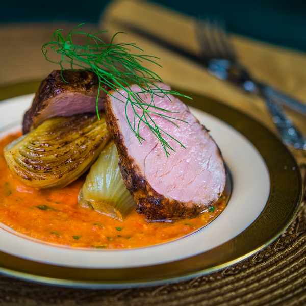 Pork Tenderloin with Braised Fennel and Tomato Butter Sauce