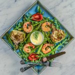 Grilled Asparagus and Artichoke Salad with Shrimp and Lemon Tarragon Aioli