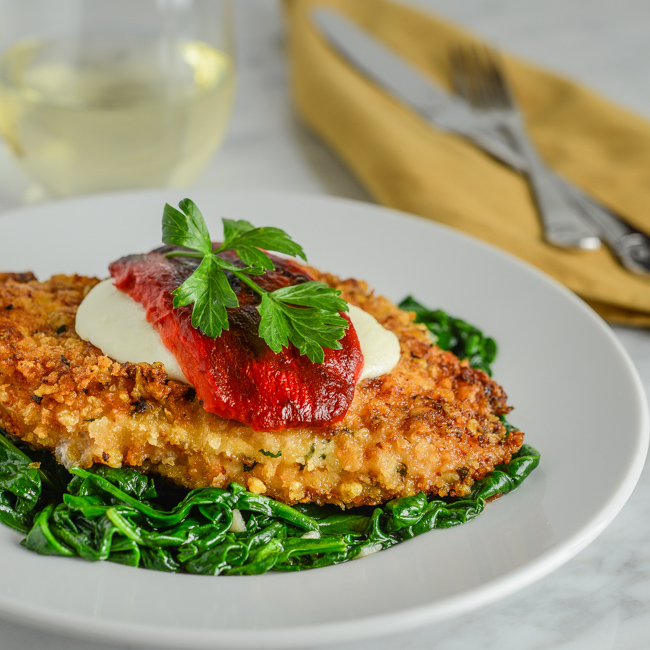Parmesan Chicken with Spinach and Roasted Red Pepper
