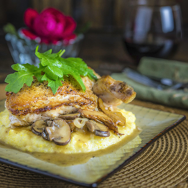 Chicken Breast with Parmesan Grits
