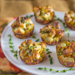 Apple, Bacon, and Cheddar Bread Puddings