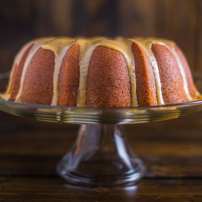 Pumpkin Pound Cake with Bourbon Caramel Glaze