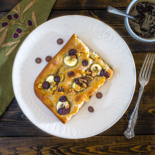 Banana, Walnut, and Chocolate Focaccia