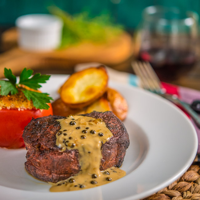 Coffee-Ancho Rubbed Filets with Green Peppercorn Sauce
