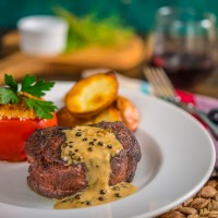 Coffee Ancho Filet with Green Peppercorn Sauce