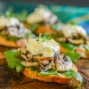 Mushroom, Burrata, and Arugula Crostini