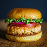 Salmon Burgers with Pickled Onion and Lemon Garlic Mayo